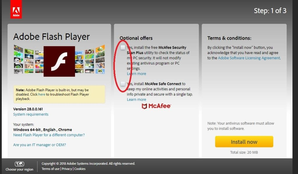Adobe Flash Player Unchecked Optional Offers