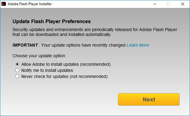 Adobe Flash Player Preferences Update Option