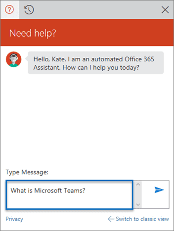Screenshot of Microsoft Office Assistant Chat Window