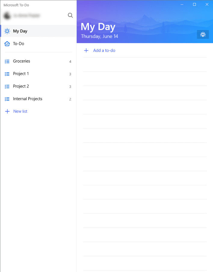 Screenshot of Microsoft To Do List Organization