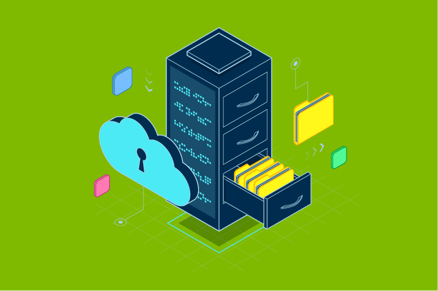 Windows 10 Information Protection, stack of files and cloud with key hole
