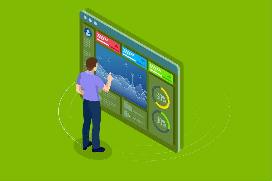 Windows 10, illustration of man in front of a dashboard monitor